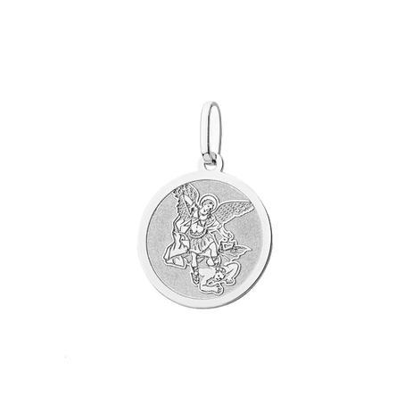 cf164c1f677fc Pingente de Ouro Branco 18k Medalha São Miguel Arcanjo Redondo pi18163 -  Joiasgold