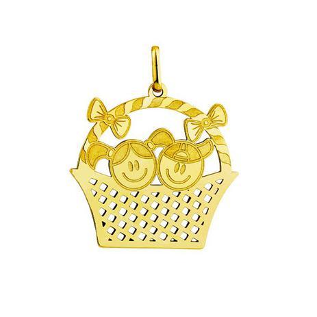8d51c19d287 Pingente em Ouro 18k Menino e Menina Dentro da Cesta pi16152 - Joiasgold