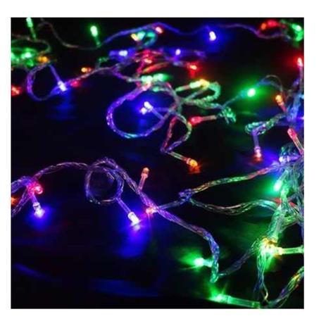 Imagem de Pisca Pisca Natal Led 100 Lâmpadas Colorido 8 funções 220v Fio Transparente