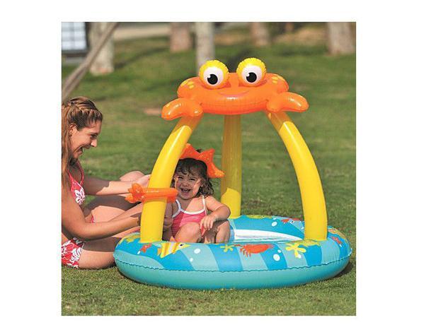 76cbb8fff Piscina infantil inflável com cobertura para criança e bebê caranguejo 50  litros - Rio de ouro