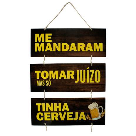 Placa Decorativa Frases Cerveja Bebidas Com Corda 70x40 Cm Art Print