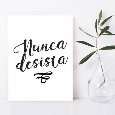 Placa Decorativa Frases De Motivação Nunca Desista 20x30cm Quartinhos