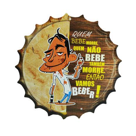Imagem de Placa Decorativa Modelo Tampa Cerveja Frase Vamos Beber 29x29 Mdf6mm Madeira