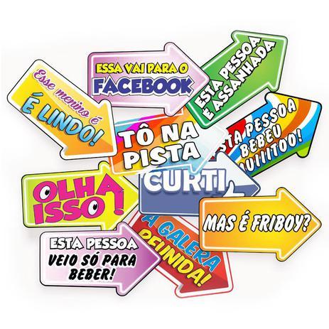 Placa Divertida Seta Com Frases 10 Unidades Festança Festabox