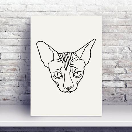 Placa Mdf Desenho Preto E Branco Gato Sphynx Conspecto Placa