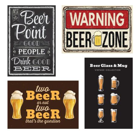 Placas Decorativas Frases Cerveja 20x30cm Kit 4un Quartinhos