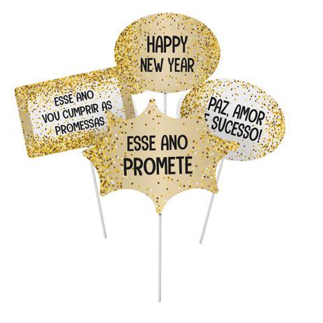 Plaquinhas Divertidas Decor Ano Novo Sortido Com 8 Unidades