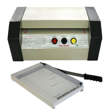Imagem de Plastificadora Ps 280 tamanho A-4 kit guilhotina 30 cm +insumos