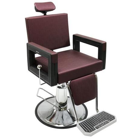 Imagem de Poltrona Cadeira Reclinável Barbeiro Maquiagem Salão Dompel - Vinho Barber Square