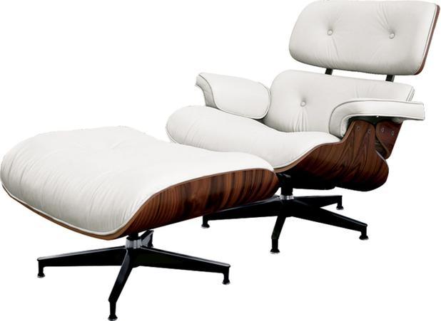 Charles Eames Poltrona.Poltrona Charles Eames Com Puff Couro Natural Branco 34560 Sun House