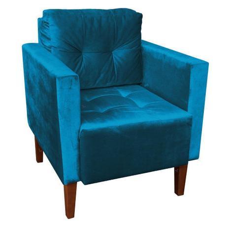 Imagem de Poltrona Decorativa Lívia Para Sala e Recepção Suede Acetinado Azul - DRossi