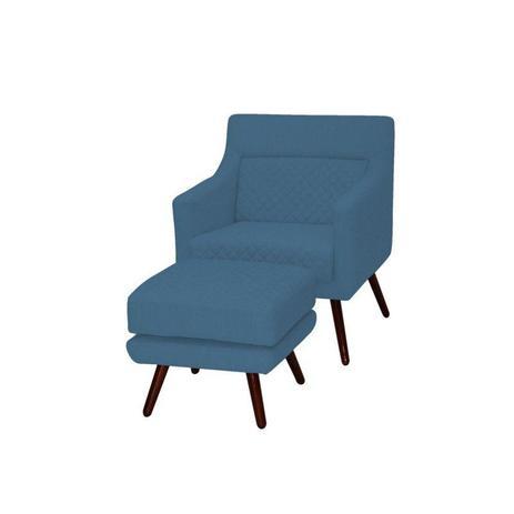Imagem de Poltrona Decorativa Pés Palito e Puff Memory B170 Azul - Domi