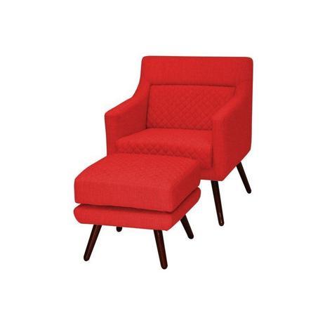 Imagem de Poltrona Decorativa Pés Palito e Puff Memory C173 Vermelho - Domi