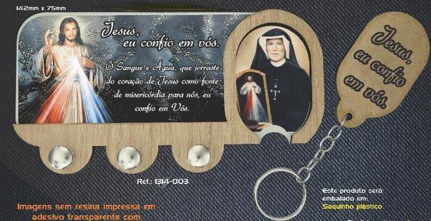 Imagem de Porta chaves de parede jesus misericordioso mdf