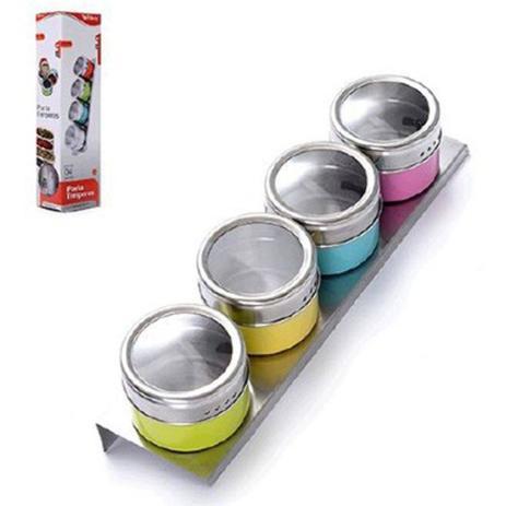 Imagem de Porta Condimento de Inox Colors com 4 Peças e Suporte - Ref. WX3880