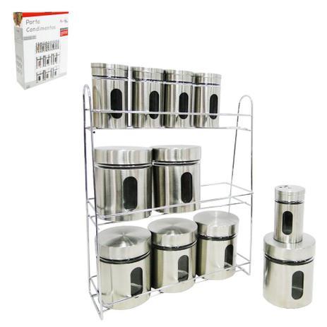 Imagem de Porta condimento de vidro / inox kit com 11 pecas 320 / 80ml + suporte aramado na caixa