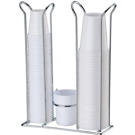Imagem de Porta Copos Descartáveis 200 ml e 50/80 ml Com Porta Colheres Cromado - Branco