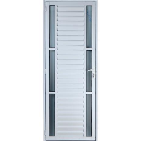 Imagem de Porta De Alumínio Palheta Com Visor Duplo 2,10 X 0,80 Esquerda Linha All Soft Cor Branco