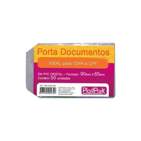 dae931d1f Porta Documento protetor de CNH e CPF 65x90mm Plastpark 50un ...
