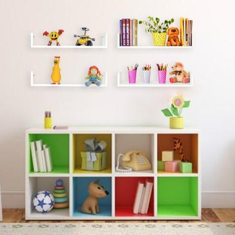 Imagem de Porta Livros Decorativo Kit 4 Peças Branco