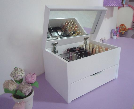 Imagem de Porta Maquiagem Caixa Organizadora com Espelho - Branco Laca