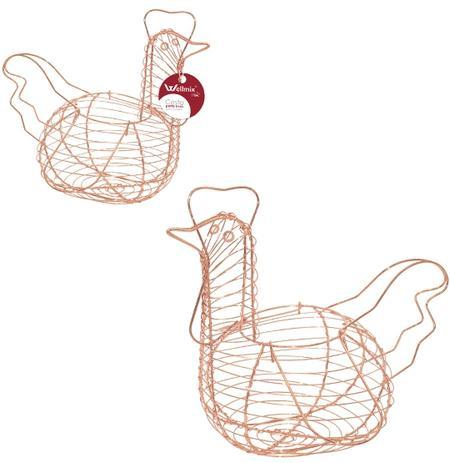 Imagem de Porta ovos aramado metalizado cobre / rose modelo galinha 28x25cm