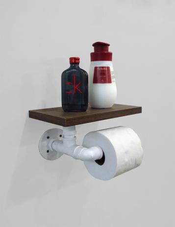 Imagem de Porta Papel Higiênico Acessório para Banheiro Papeleira Suporte de Parede - Branco Laca