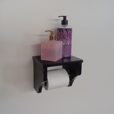 Imagem de Porta Papel Higiênico Acessório para Banheiro Papeleira Suporte de Parede Preto Laca