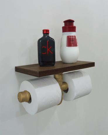 Imagem de Porta Papel Higiênico Duplo Acessório para Banheiro Papeleira Suporte de Parede - Dourado Laca