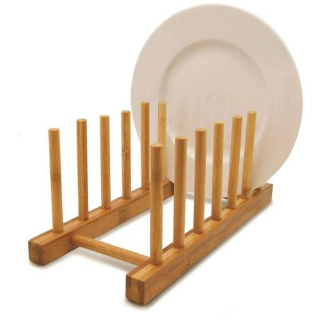 Imagem de Porta pratos, suporte escorredor de pratos, copos, de bambu