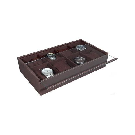 7b993da30 Porta Relógios com 8 Divisórias Marrom - Poli design - Organização e ...