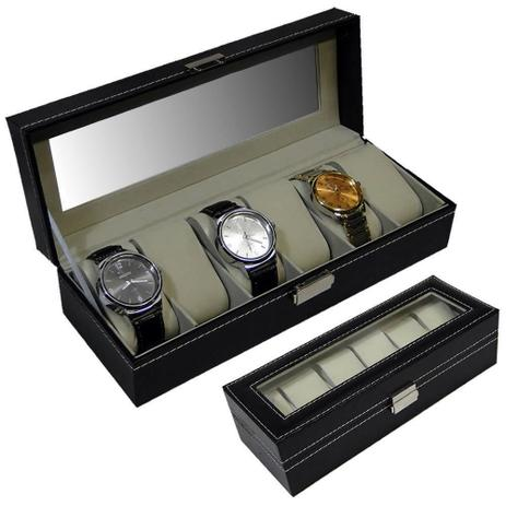 37517491c62 Porta relogios Estojo para 6 peças luxo CBRN05550 - Commerce brasil ...