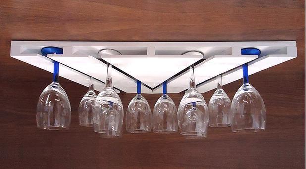 Imagem de Porta Taças 30 Suporte Decorativo para Adegas Bar - Branco Laca