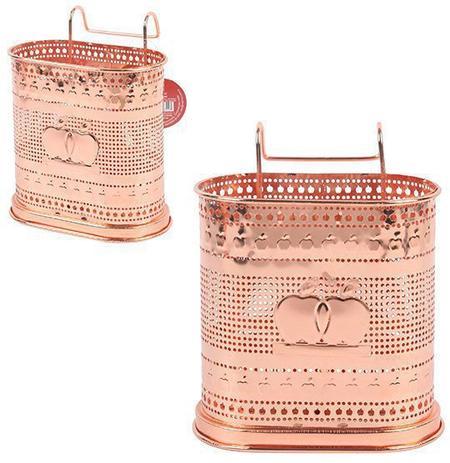 Imagem de Porta talher / escorredor de talher duplo aramado metalizado cobre / rose 20,5x16cm