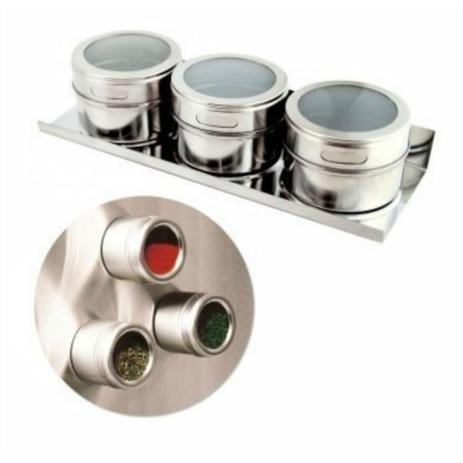 Imagem de Porta Tempero Condimento Inox 3 Potes Magnetico Ima Geladeira-PROMOÇÃO