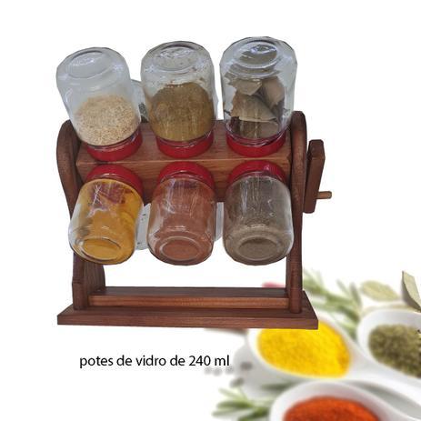 Imagem de Porta tempero manivela 12 potes TAMPAS VERMELHAS