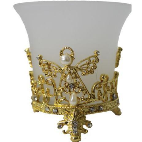Imagem de Porta Vela Anjo em Vidro (Dourado)