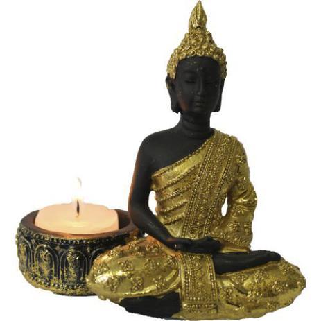 Imagem de Porta Vela Buddha Meditando em Resina (11cm)