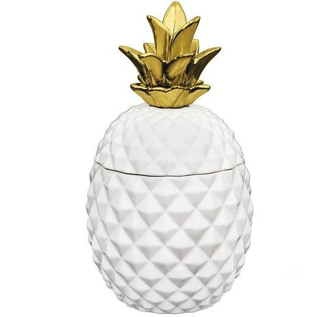 Imagem de Pote abacaxi branco e dourado em ceramica