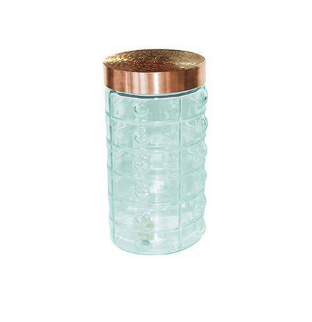 Imagem de Pote de vidro redondo quadriculado com tampa cobre / rose 1740ml