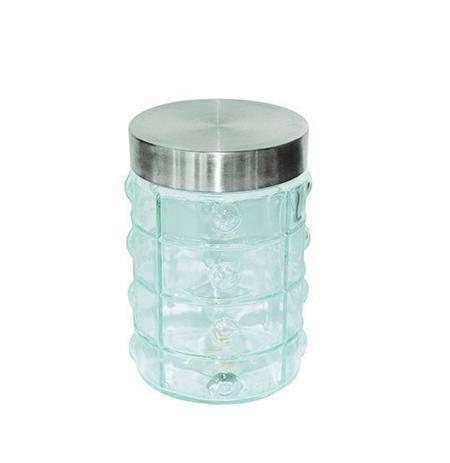 Imagem de Pote de vidro redondo quadriculado com tampa de inox 1290ml