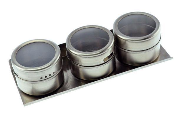 Imagem de Potes em Inox Magnéticos Porta Temperos e Condimentos com Imã na Base