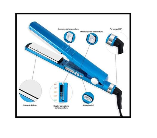Imagem de Prancha Chapinha Alisadora Azul Para Cabelos
