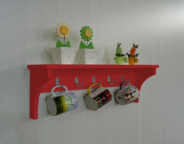 Imagem de Prateleira Cabideiro Suporte Porta Canecas Utensílios de Cozinha Mochilas Bolsas - Vermelho Laca