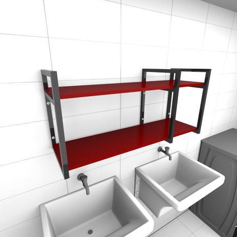 Imagem de Prateleira industrial para lavanderia aço cor preto mdf 30cm cor vermelho escuro modelo ind21vrlav