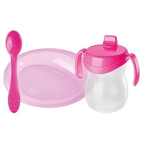 Imagem de Prato raso infantil com colher e copo rosa (sr837/40ca) - sanremo