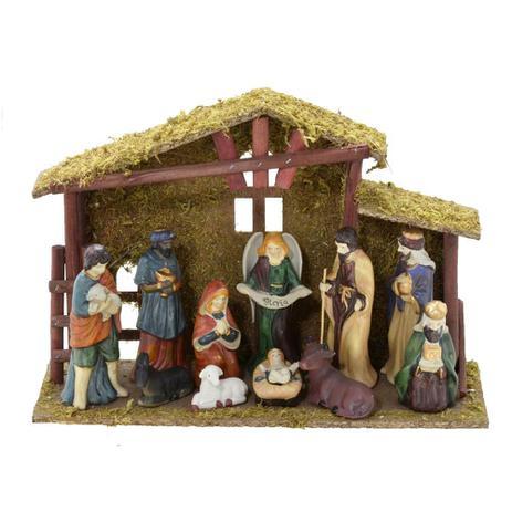 Imagem de Presepio Com Estabulo 12x37cm Nascimento Espressione Christmas