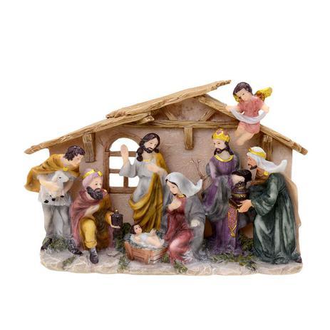 Imagem de Presepio Com Estabulo Reis Magos e Anjo 14cm Espressione Christmas