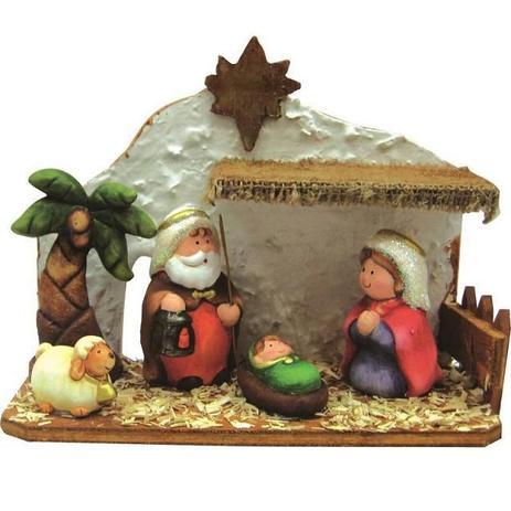 Imagem de Presépio sagrada familia importado com estábulo madeira