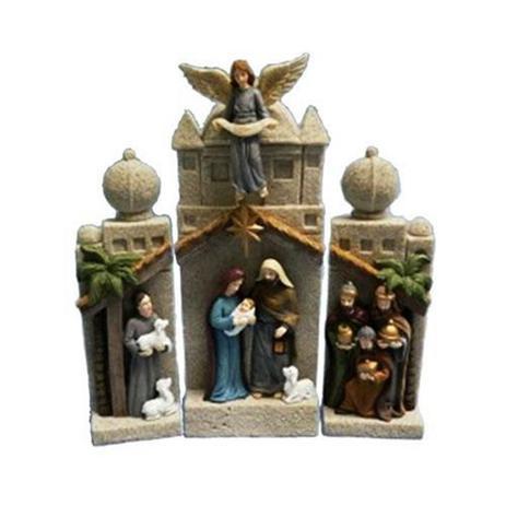 Imagem de Presépio sagrada familia importado pedra luminoso 3 partes